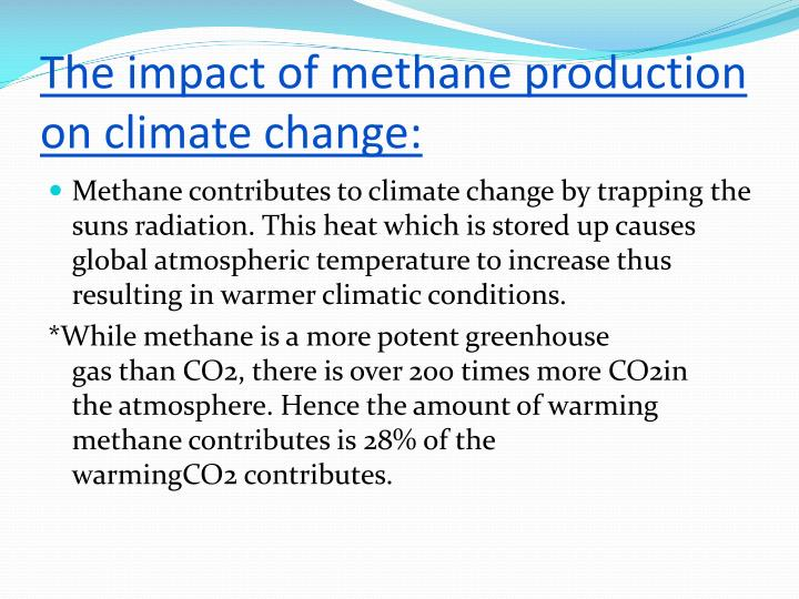 The impact of methane production on climate change: