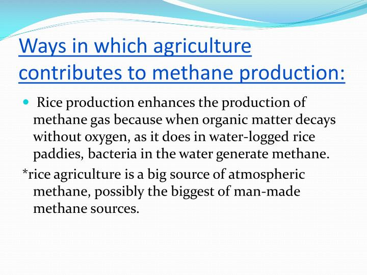 Ways in which agriculture contributes to methane production: