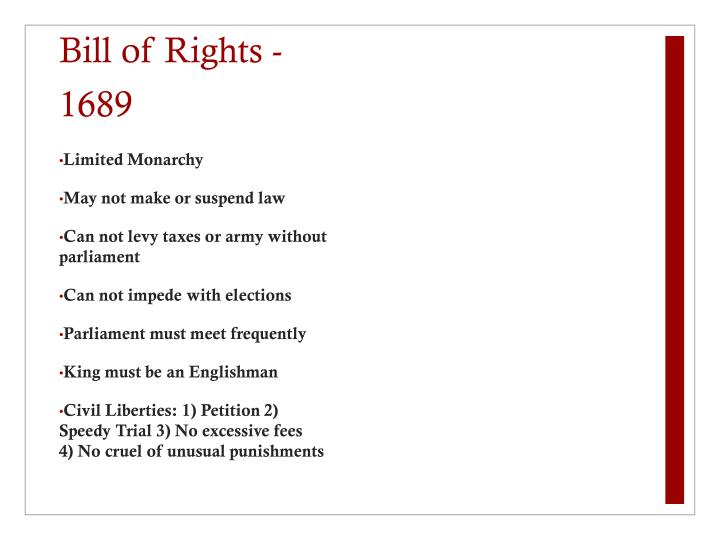 Bill of Rights - 1689