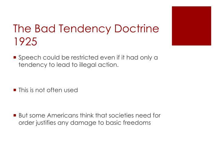 The Bad Tendency Doctrine 1925