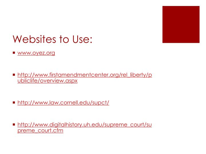 Websites to Use: