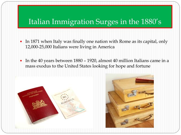 Italian Immigration Surges in the 1880's