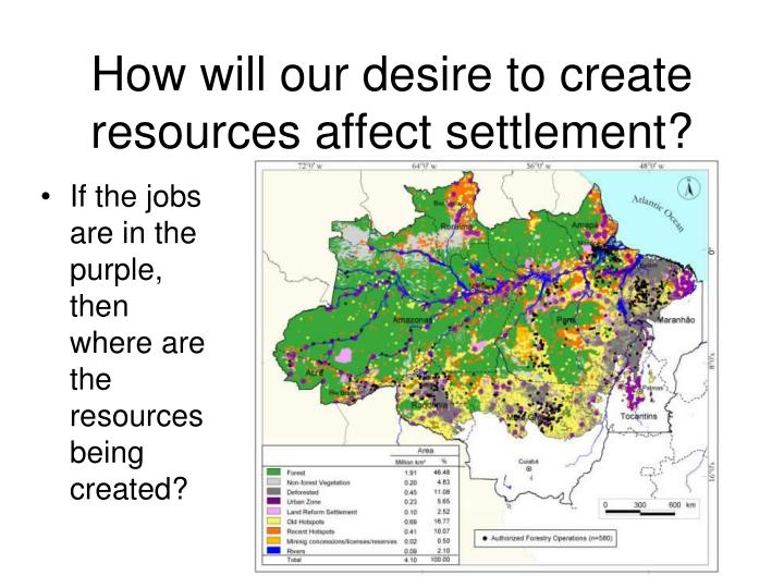 How will our desire to create resources affect settlement?