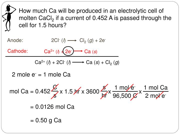 How much Ca will be produced in an electrolytic cell of molten CaCl