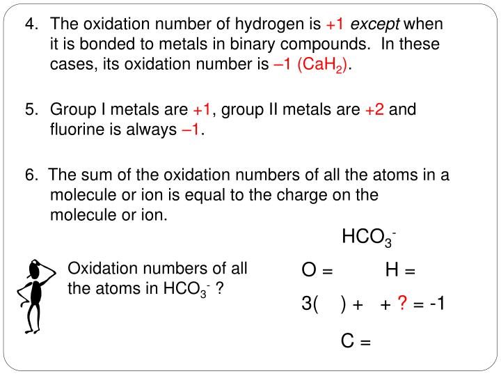 Oxidation numbers of all the atoms in HCO