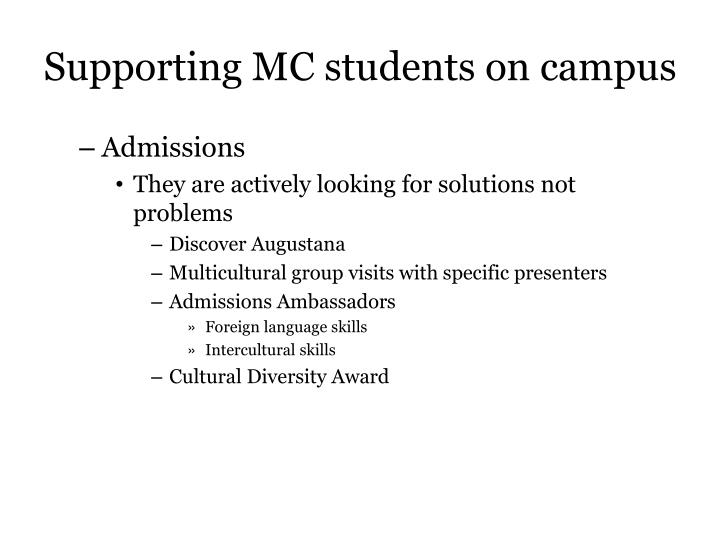 Supporting MC students on campus