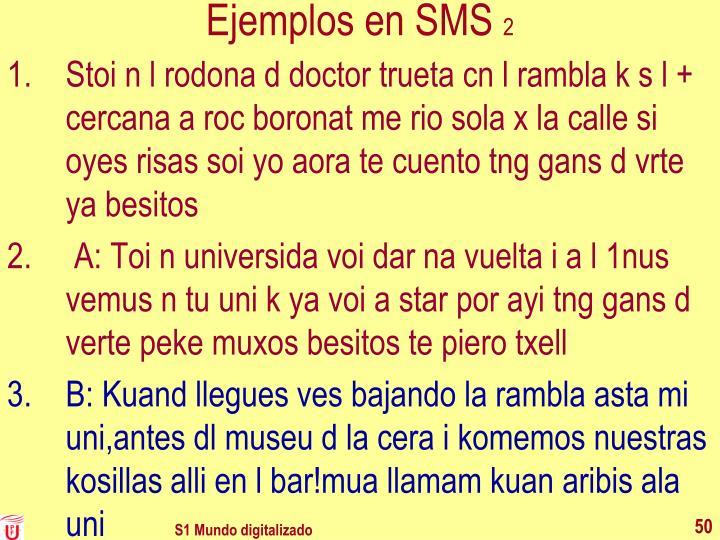 Ejemplos en SMS