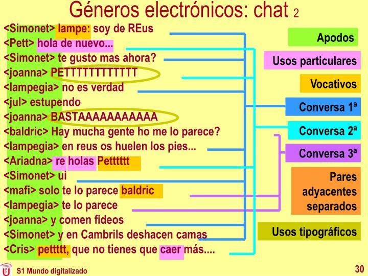 Géneros electrónicos: chat