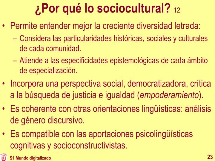 ¿Por qué lo sociocultural?