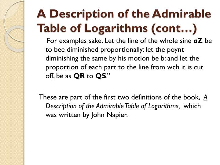 A Description of the Admirable Table of Logarithms (cont…)