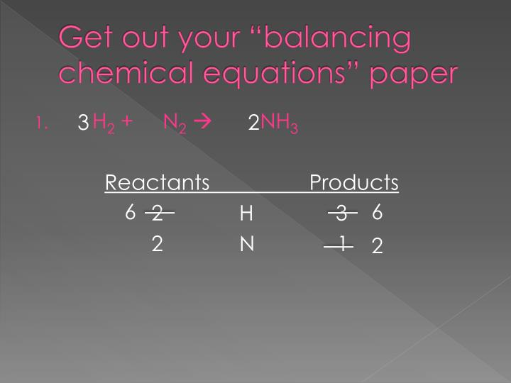 "Get out your ""balancing chemical equations"" paper"