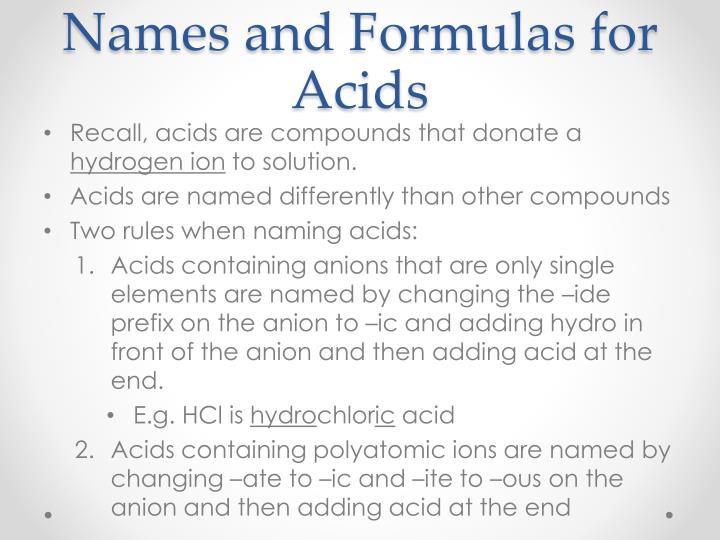 Names and Formulas for Acids