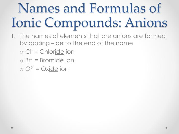 Names and Formulas of Ionic Compounds: