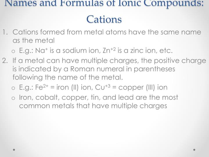 Names and formulas of ionic compounds cations