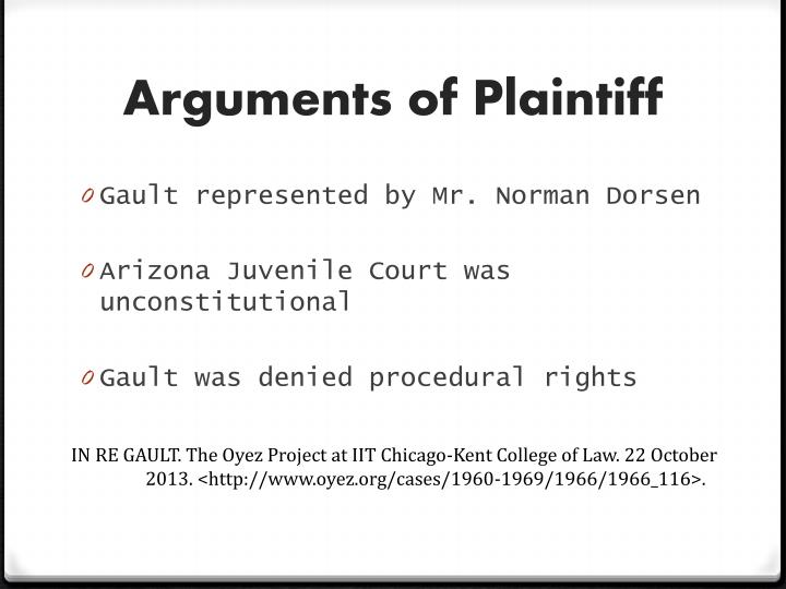 Arguments of Plaintiff