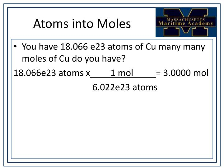 Atoms into Moles