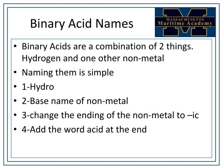 Binary Acid Names