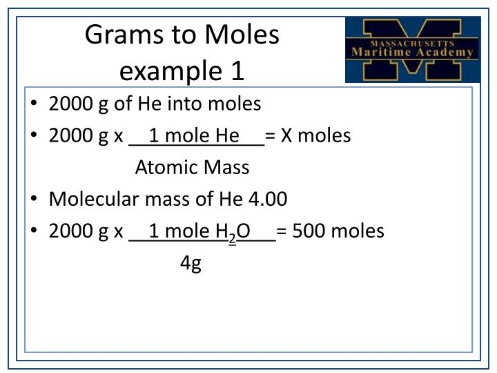 Grams to Moles example 1
