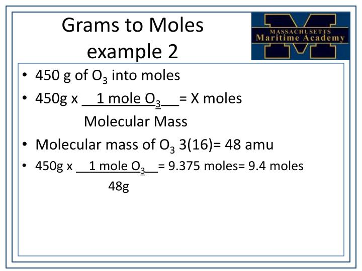 Grams to Moles example 2