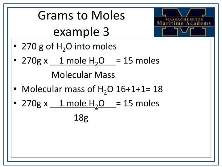 Grams to Moles example 3