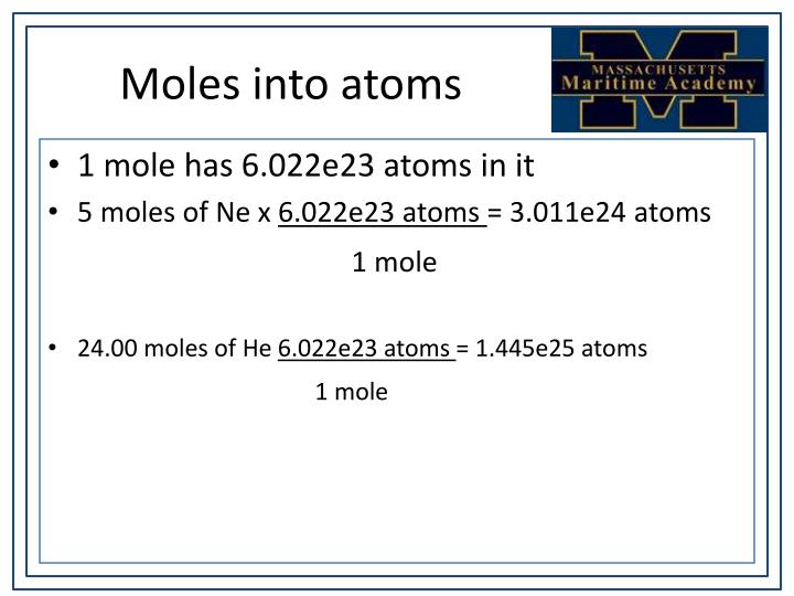 Moles into atoms