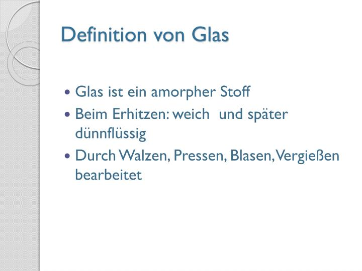 Definition von Glas