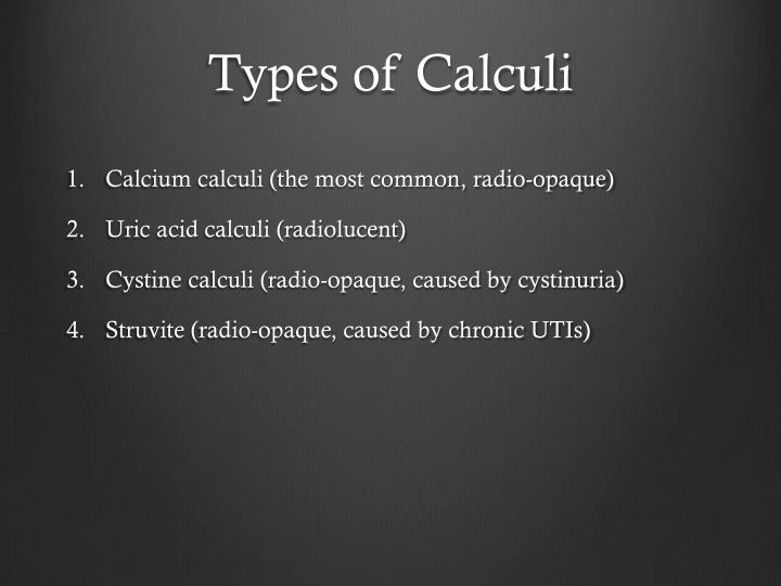 Types of Calculi