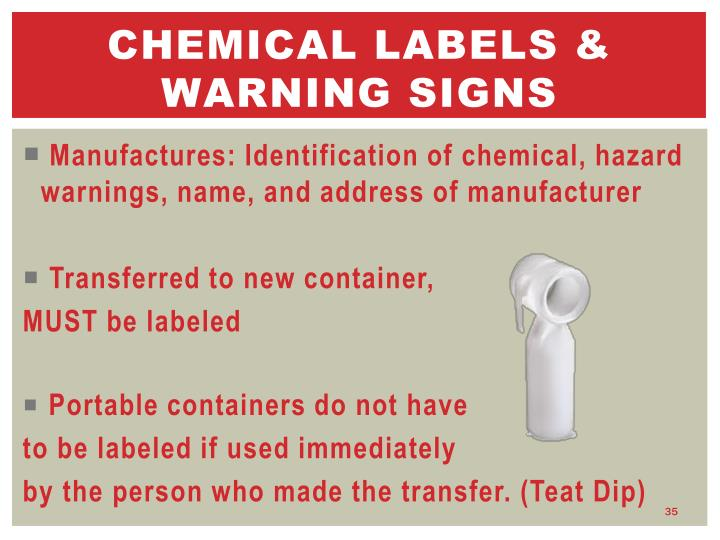 Chemical labels & warning signs