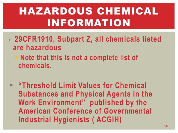Hazardous chemical information