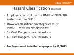 hazard classification continued