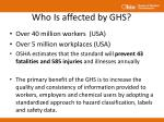 who is affected by ghs