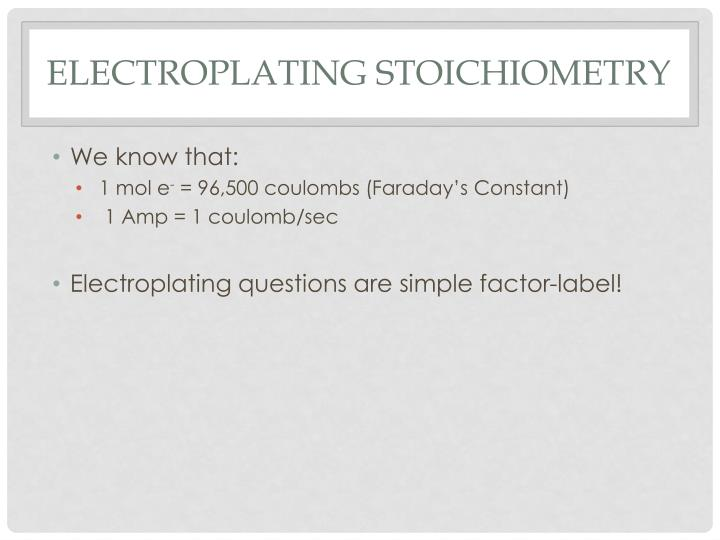 electroplating stoichiometry