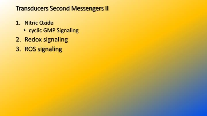 Transducers Second Messengers II