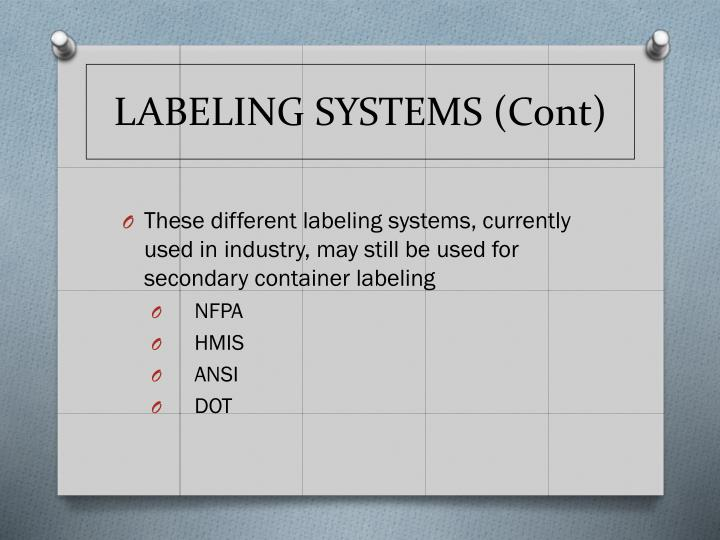 LABELING SYSTEMS (