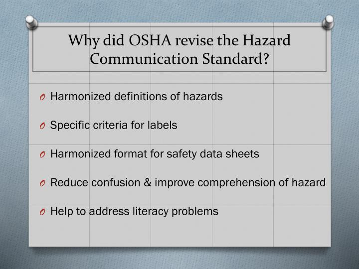 Why did osha revise the hazard communication standard