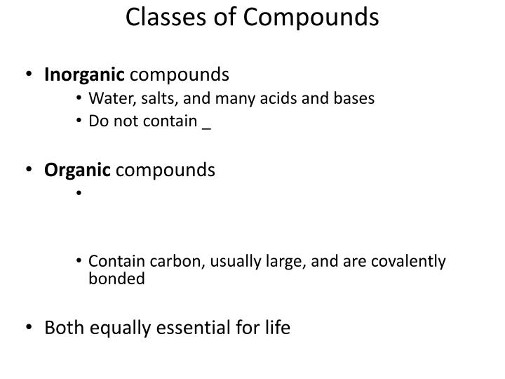 Classes of Compounds