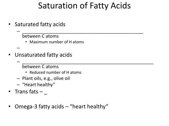 Saturation of Fatty Acids