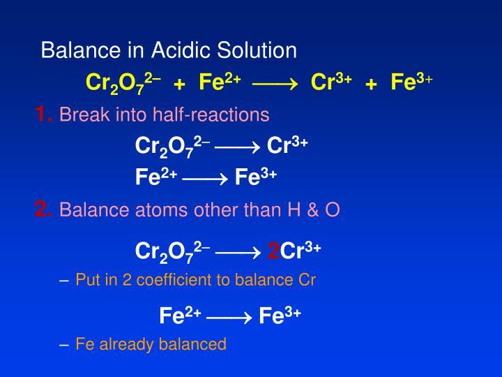 Balance in Acidic Solution