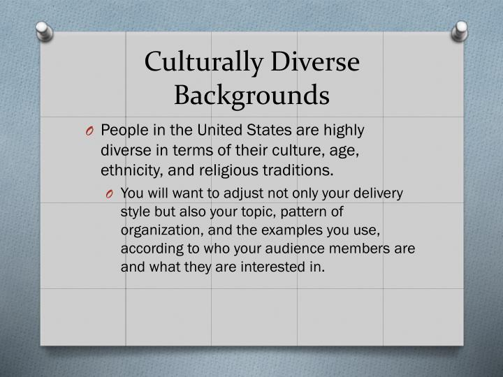 Culturally Diverse Backgrounds