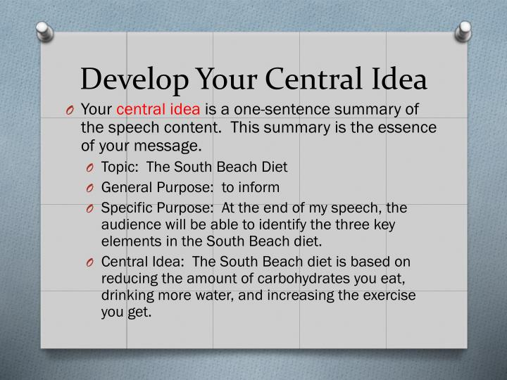 Develop Your Central Idea