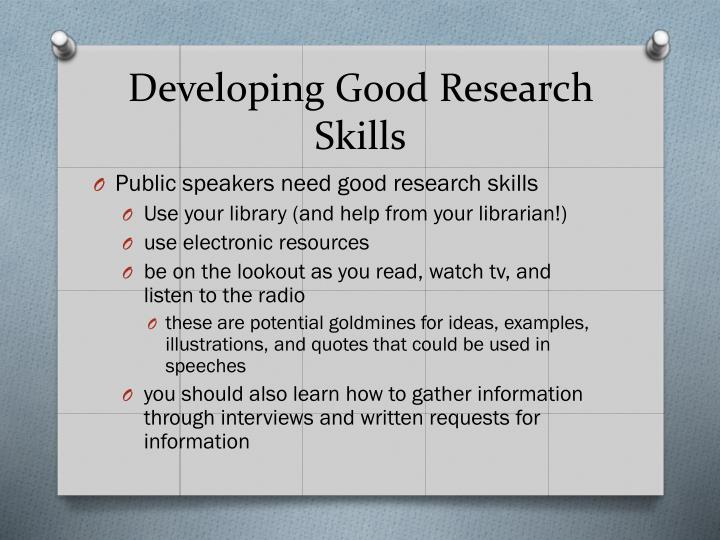 Developing Good Research Skills