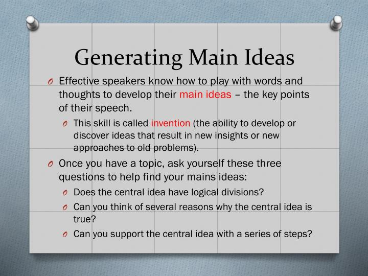 Generating Main Ideas