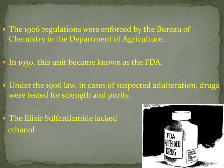 The 1906 regulations were enforced by the Bureau of Chemistry in the Department of Agriculture.