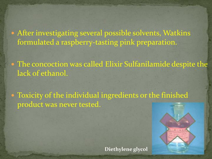 After investigating several possible solvents, Watkins formulated a raspberry-tasting pink preparation.