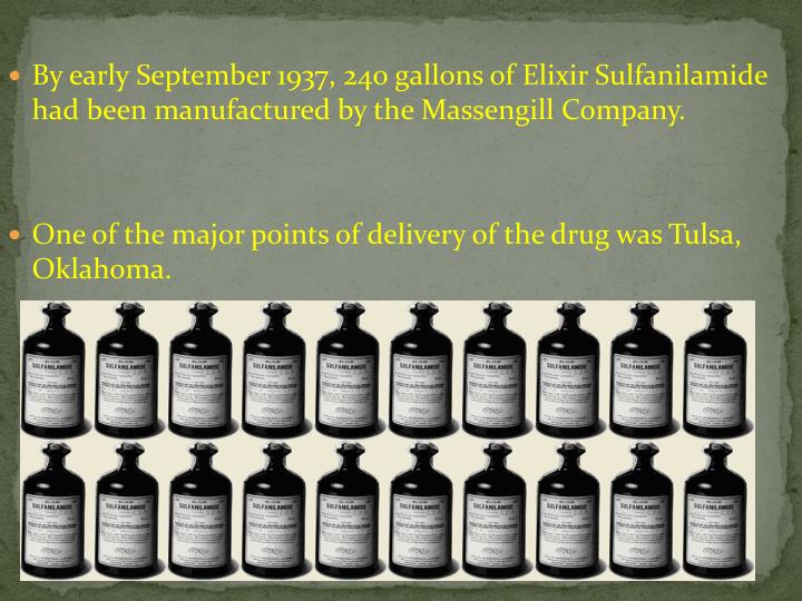 By early September 1937, 240 gallons of Elixir Sulfanilamide had been manufactured by the
