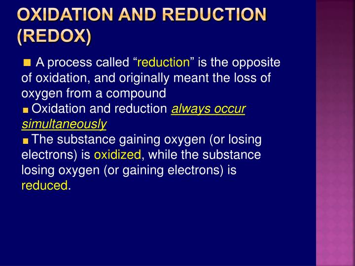 Oxidation and Reduction (