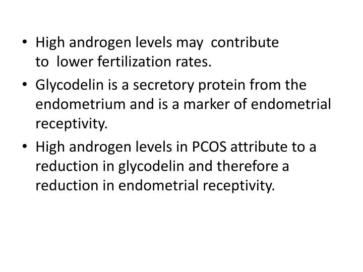 High androgen levels may  contribute to  lower fertilization rates.
