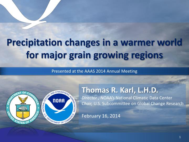 Precipitation changes in a warmer world for major grain growing regions