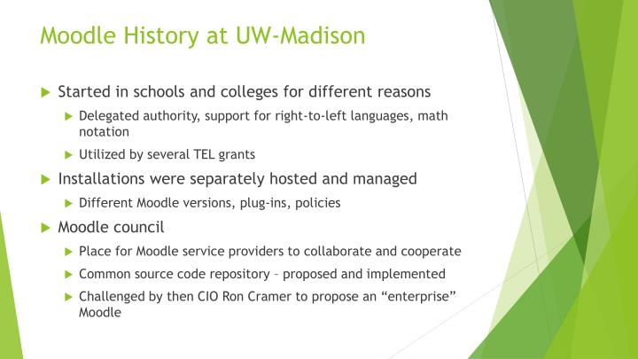 Moodle history at uw madison