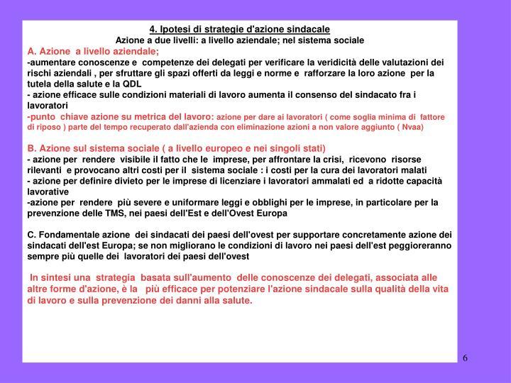 4. Ipotesi di strategie d'azione sindacale
